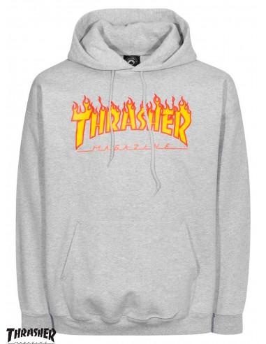 a516db294475 Thrasher Flame Logo Grey Hoodie