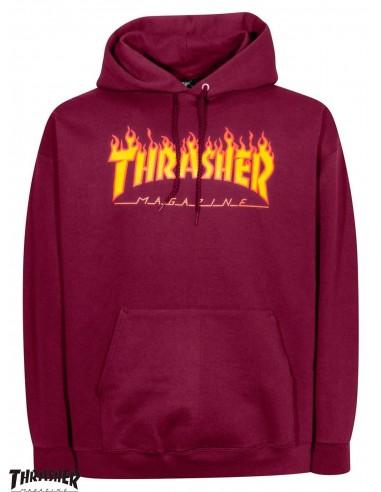 Sudadera con Capucha Thrasher Flame Logo Burgundy 7aa91cc45e2