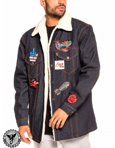 Grimey Runaway Sleeve Denim Jacket Blu