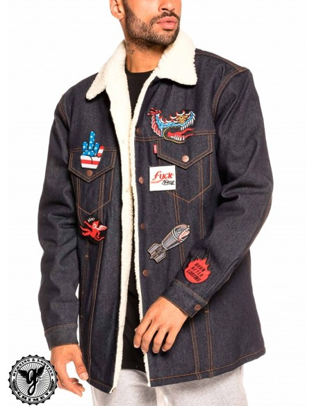 Grimey Runaway Sleeve Denim Jacket Azul
