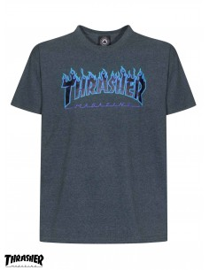 Thrasher Flame Logo Dark Heather T Shirt