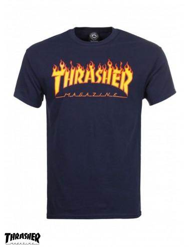 Tee Shirt Thrasher Flame Logo Navy