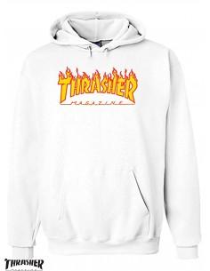 Sweat Capuz Thrasher Flame Logo Branco