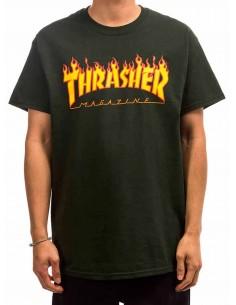 T-Shirt Thrasher Flame Logo Forest Green