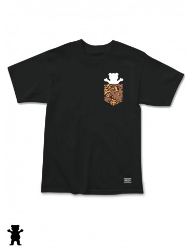 Grizzly Camo Pocket Bear Black T-shirt