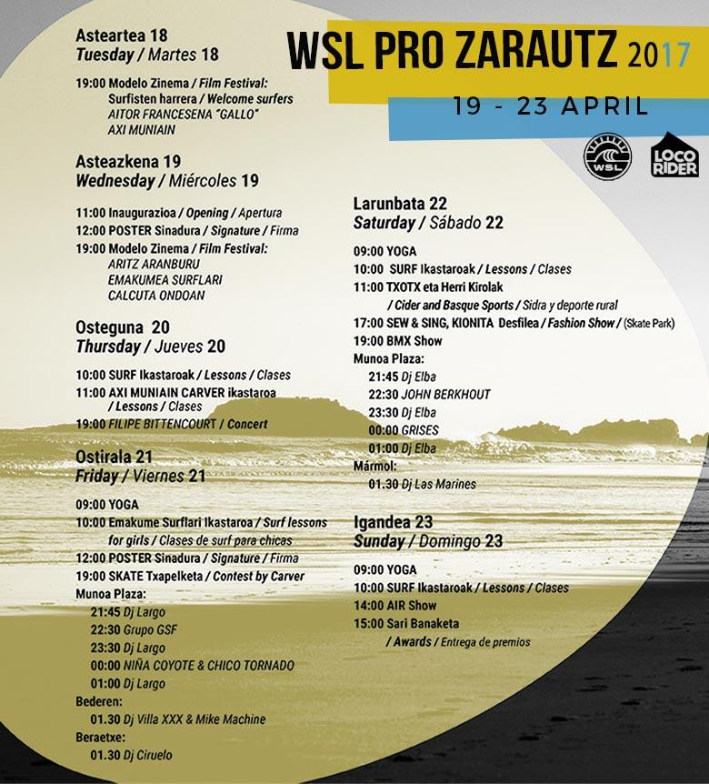 Agenda Completa del Campeonato Mundial de Surf Zarautz PRO 2017